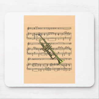 Trumpet With Sheet Music Background ~ Musical Inst Mouse Pad