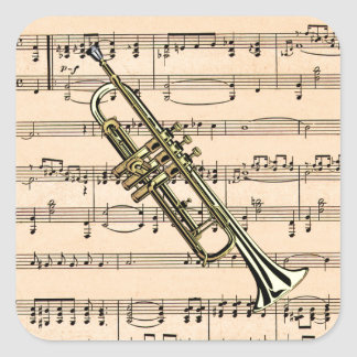Trumpet With Sheet Music Background ~ Musical Inst Square Sticker