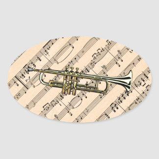 Trumpet With Sheet Music Background ~ Musical Inst Oval Sticker