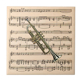 Trumpet With Sheet Music Background ~ Musical Inst Tile
