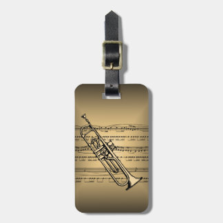 Trumpet With Sheet Music Background Tags For Luggage