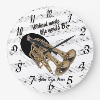 Trumpet Without Music Life Would B Flat Wall Clock