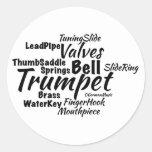 Trumpet Word Cloud Black Text Round Stickers