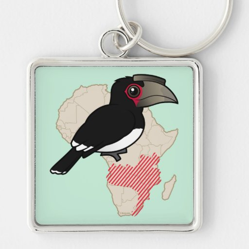 Trumpeter Hornbill Range Silver-Colored Square Keychain