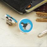 Trumpeter Pigeon Black Baldhead Pin