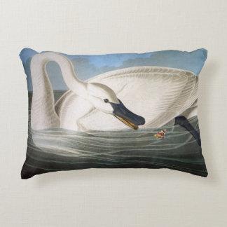 Trumpeter swan by John James Audubon Accent Pillow