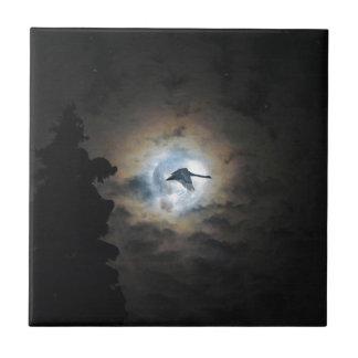 Trumpeter Swan Flying under a Full Winter Moon Ceramic Tile