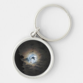 Trumpeter Swan Flying under a Full Winter Moon Keychain