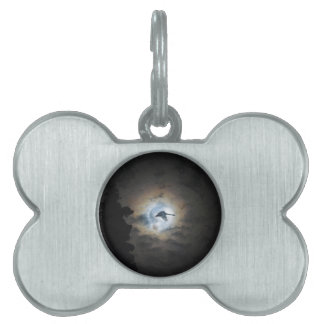 Trumpeter Swan Flying under a Full Winter Moon Pet Tag