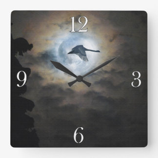 Trumpeter Swan Flying under a Full Winter Moon Square Wall Clock
