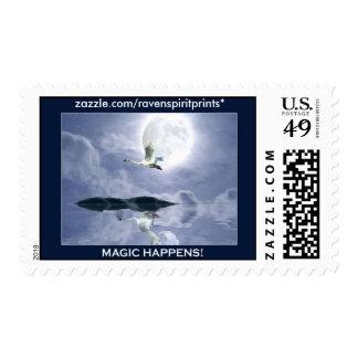TRUMPETER SWAN & MOON Postage Stamps