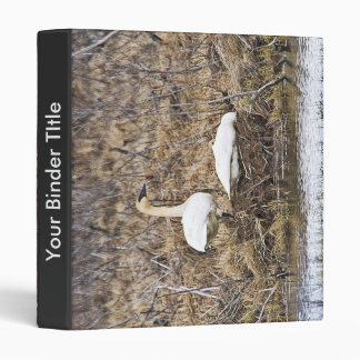 Trumpeter Swan Pair at Nest Vinyl Binder
