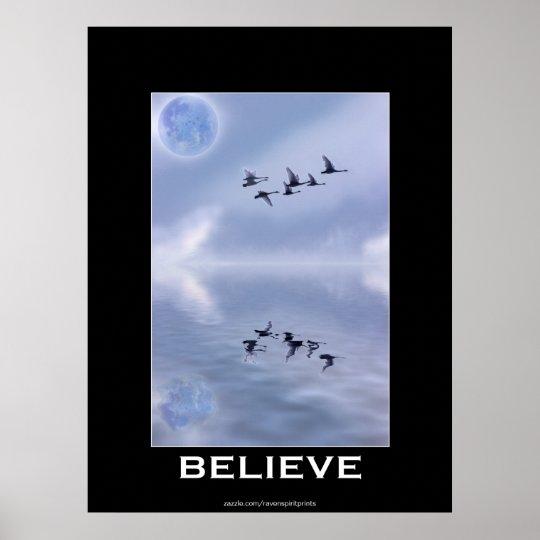 "Trumpeter Swans ""BELIEVE"" Motivational Poster"