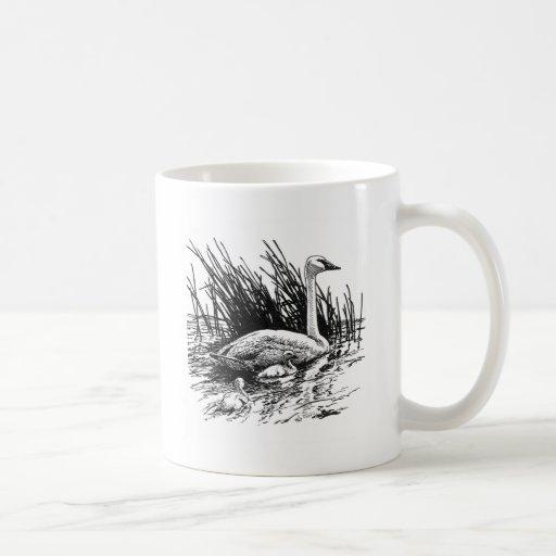 Trumpeter Swans Illustration (line art) Coffee Mug