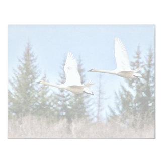 Trumpeter Swans in Flight 4.25x5.5 Paper Invitation Card