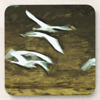 Trumpeter Swans in Flight Abstract Impressionism Beverage Coaster