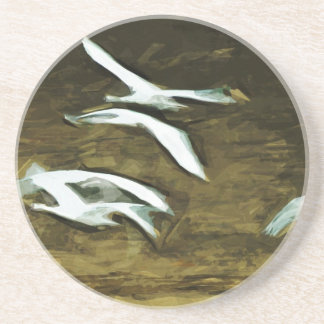 Trumpeter Swans in Flight Abstract Impressionism Coaster