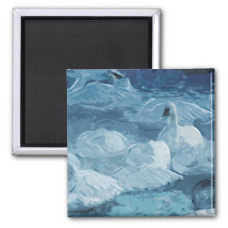 Trumpeter Swans in Morning Fog Abstract Fridge Magnets