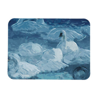 Trumpeter Swans in Morning Fog Abstract Rectangle Magnet