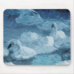 Trumpeter Swans in Winter Abstract Impressionism Mousepad