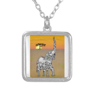 Trumpeting Elephant Square Pendant Necklace