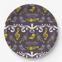 Trumpets and Birds Paper Plate