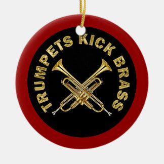 Trumpets Kick Brass Double-Sided Ceramic Round Christmas Ornament