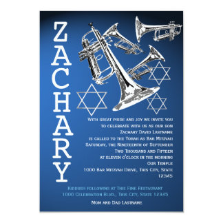 Trumpets Music Dark Blue Bar Mitzvah Card