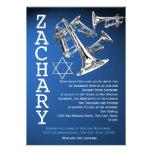Trumpets Music Dark Blue Bar Mitzvah Custom Invitations