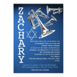 Trumpets Music Dark Blue Bar Mitzvah 5x7 Paper Invitation Card