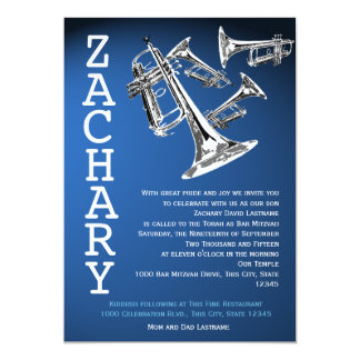 "Trumpets Music Dark Blue Bar Mitzvah 5"" X 7"" Invitation Card"