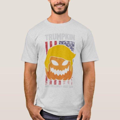 Trumpkin US Flag Pumpkin Head Trump Great Again T_Shirt