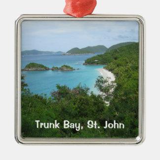 Trunk Bay, St. John Square Metal Christmas Ornament