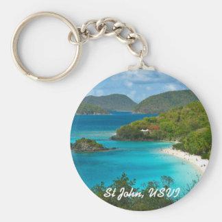 Trunk Bay, St John USVI Basic Round Button Keychain