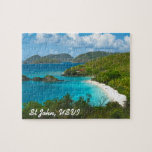 Trunk Bay, St John USVI Jigsaw Puzzle<br><div class='desc'>The beautiful white sand beach at Trunk Bay on the Caribbean island of St John in the US Virgin Islands.  Text is customizable!</div>