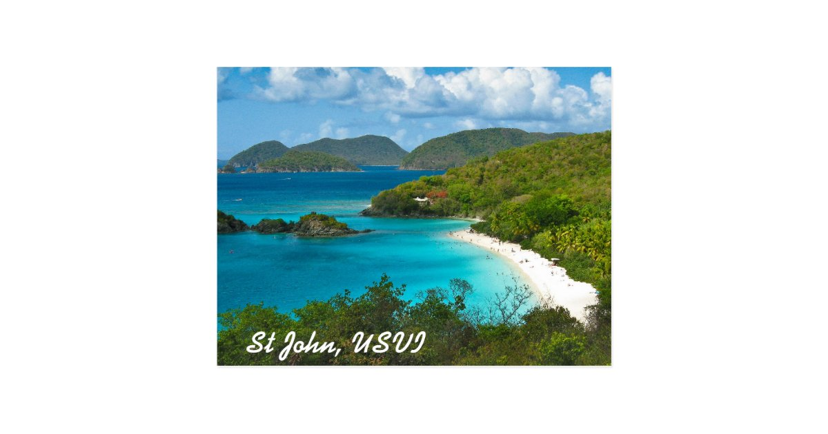 trunk bay  st john usvi postcard