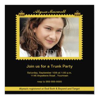 """Trunk Party Gold and Black Photo Invitation 5.25"""" Square Invitation Card"""