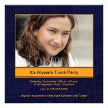 Trunk Party Orange & Blue Photo Invitation