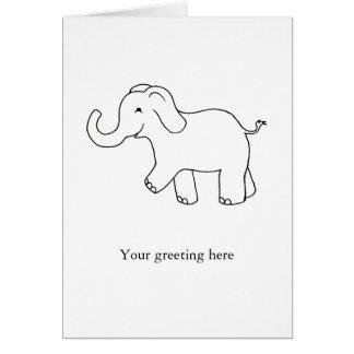 Trunk up elephant happy lucky cute simple art card