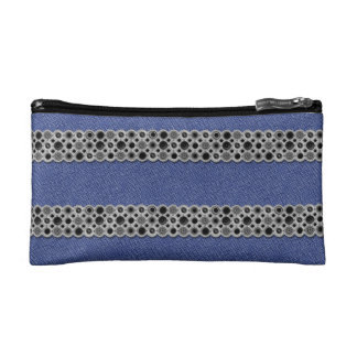 Trusses of make-up small size Jeans and metal Makeup Bag