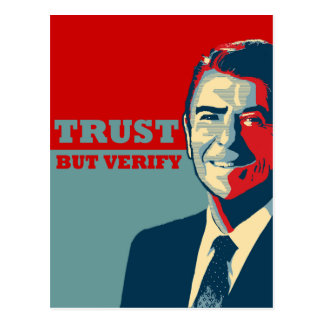 TRUST BUT VERIFY 10X10 POSTCARD