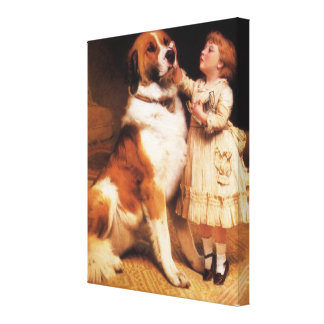 Trust by Charles Burton Barber, Saint Bernard dog Canvas Print