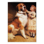 Trust by Charles Burton Barber, Saint Bernard dog Greeting Card