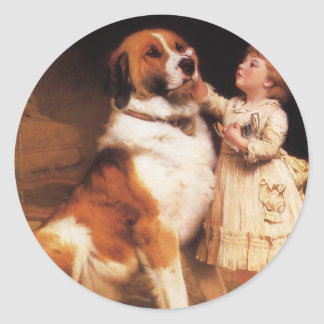 Trust by Charles Burton Barber, Saint Bernard dog Classic Round Sticker
