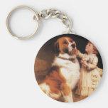 Trust by Charles Burton Barber, Saint Bernard dog Basic Round Button Keychain