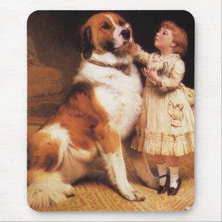 Trust by Charles Burton Barber, Saint Bernard dog Mouse Pad