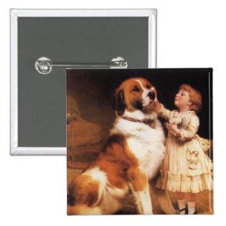 Trust by Charles Burton Barber, Saint Bernard dog Pinback Button