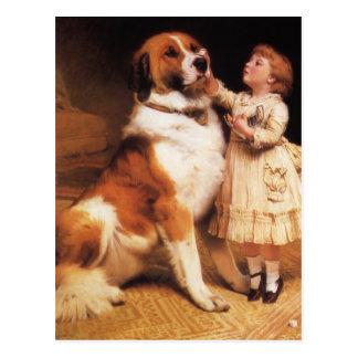 Trust by Charles Burton Barber, Saint Bernard dog Postcard