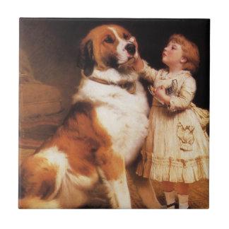 Trust by Charles Burton Barber, Saint Bernard dog Small Square Tile