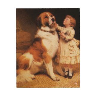 Trust by Charles Burton Barber, Saint Bernard dog Wood Wall Art